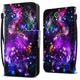 FINCIBO Prestige 2 N9136 Case, Fashionable Flap Wallet Pouch Cover Case + Credit Card Holder with Kickstand For ZTE Prestige 2 N9136 2017 - Purple Marvel Nebula Galaxy