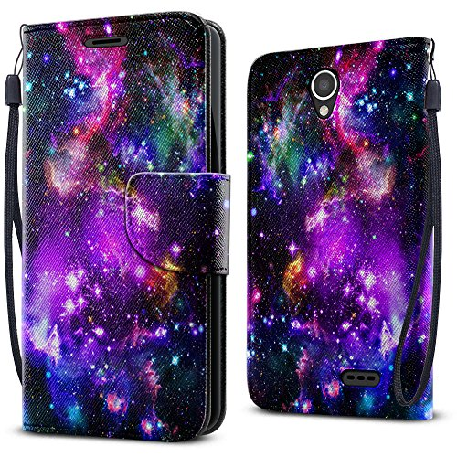 FINCIBO Prestige 2 N9136 Case, Fashionable Flap Wallet Pouch Cover Case + Credit Card Holder with Kickstand For ZTE Prestige 2 N9136 2017 - Purple Marvel Nebula Galaxy by Fincibo