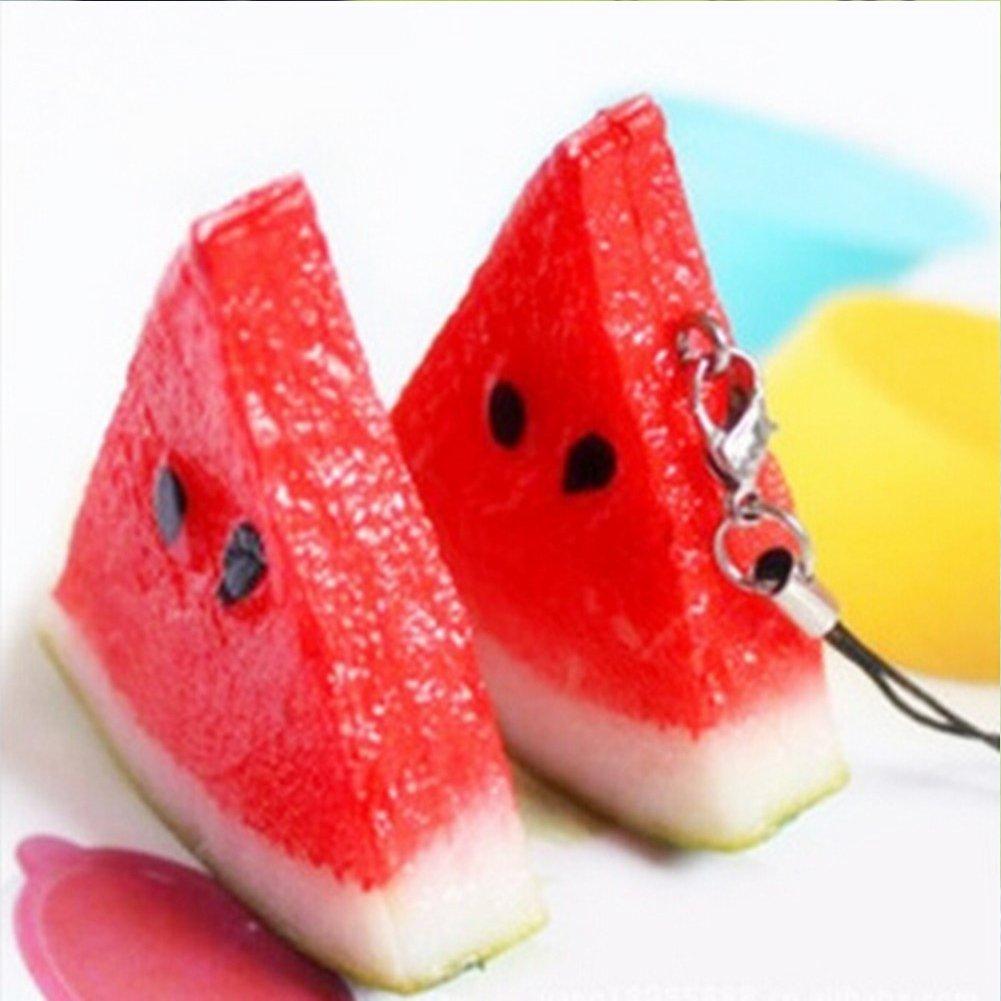 Shuohu Diamond Keychain Simulation Fruit Cute Watermelon Pendant Cellphone Strap Purse Bag Key Chain