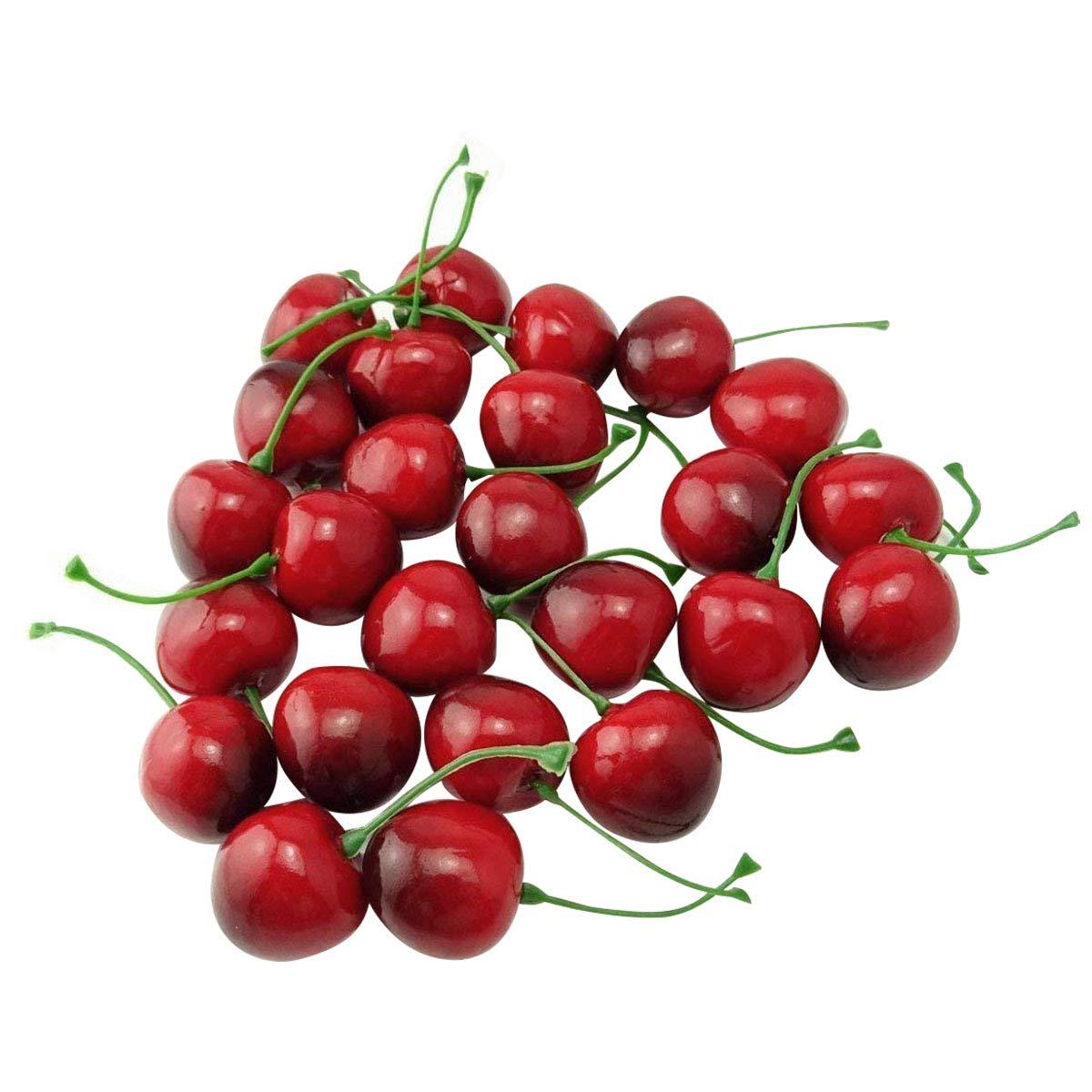 Zhichengbosi, piccole ciliegie rosse e nere, frutta artificiale, simulazione, per decorazione di casa, cucina festa, scrivania, 25 pezzi