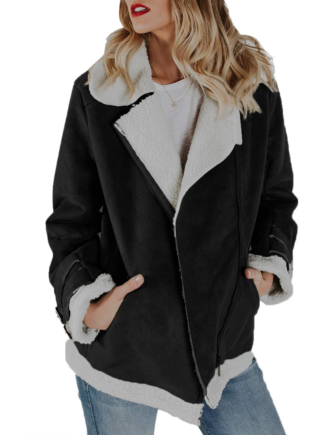 Sidefeel Women Faux Suede Jacket Zipper Up Front Coat Outwear with Pockets X-Large Black