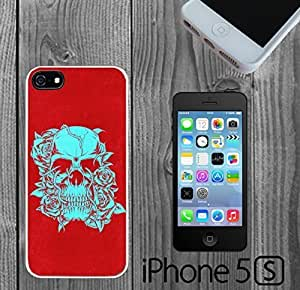 Blue Skull and Roses Red Custom made Case/Cover/skin FOR iPhone 5/5s