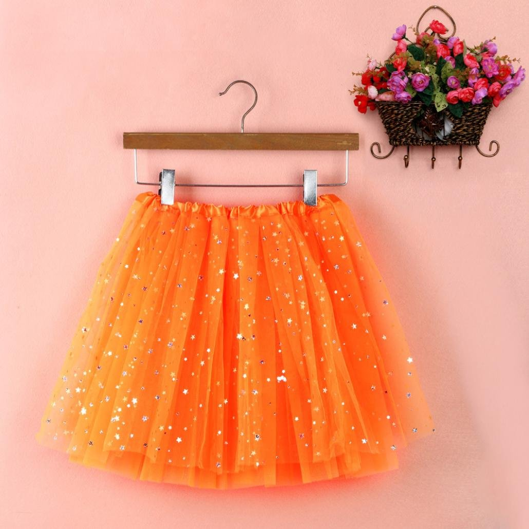 Sinwo Womens Girl Cute Pleated Gauze Short Skirt Adult Tutu Dancing Skirt Basic Skirt (Orange) by Sinwo (Image #1)