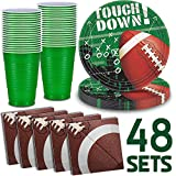 Football Party Supplies - 48 Servings - Dinner plates, Party cups, Napkins. Perfect for Super bowl, Tailgating, and sports theme birthday parties