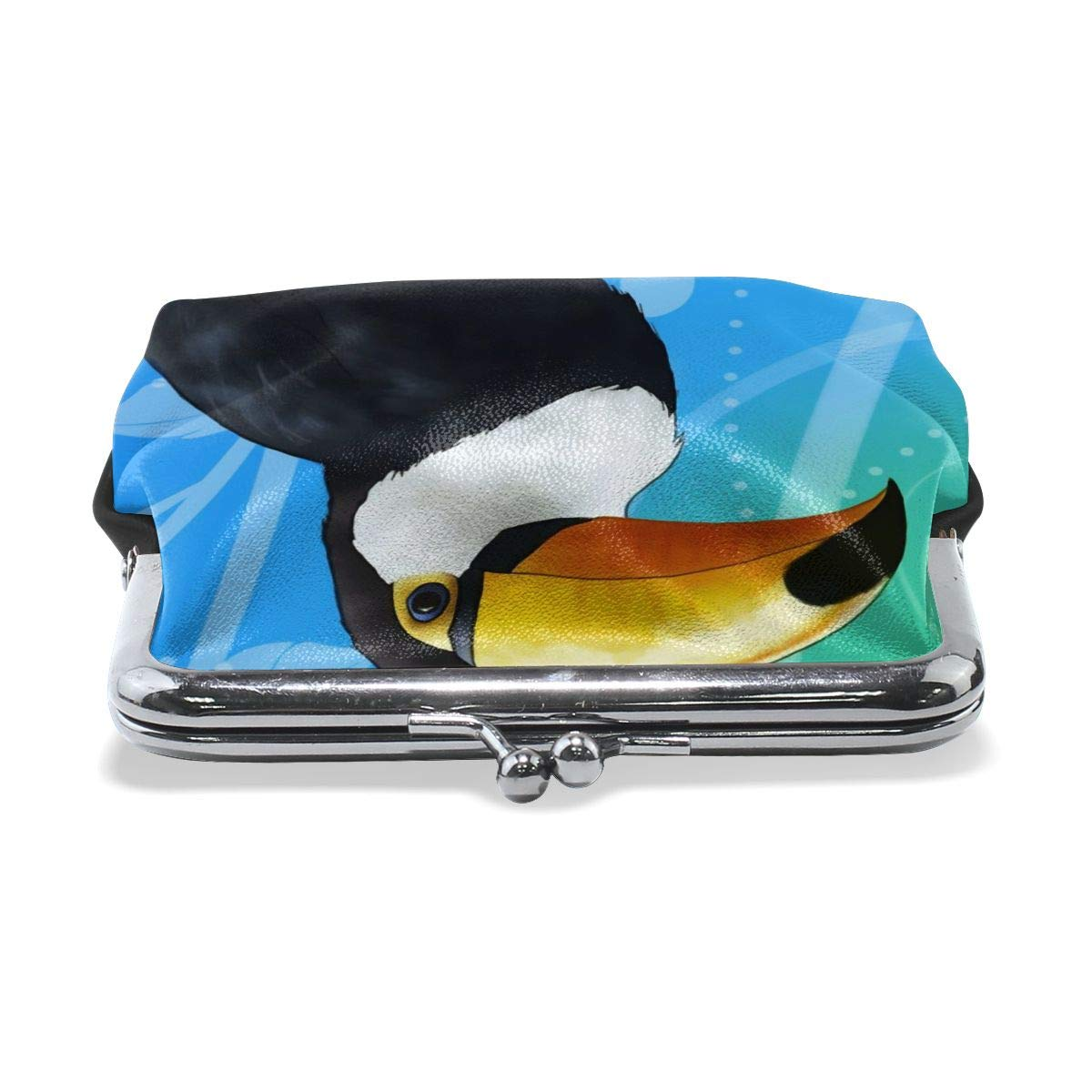 Blue Beaks Toucan Cute Vintage Pouch Girl Kiss-lock Change Purse Wallets Buckle Leather Coin Purses Key Woman Printed