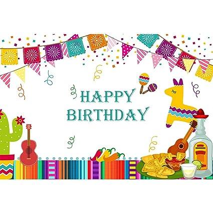 OERJU 2,2x1,5m Feliz cumpleaños Fondo Bunting Colorido ...
