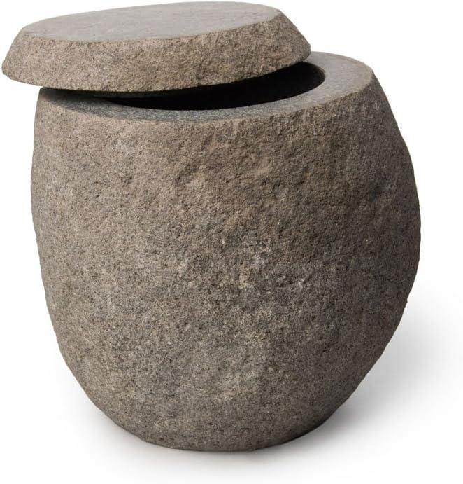 WOHNFREUDEN Flussstein Dose ca 12 x 10 cm Aufbewahrung Behälter Natursteindose