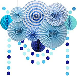 Under The Sea Theme Blue Party Decorations Kit, Hanging Decor Paper Fans Poms Flowers Garlands String Circle Dot Party Supplies for Christmas Birthday Graduation Wedding Kids Room