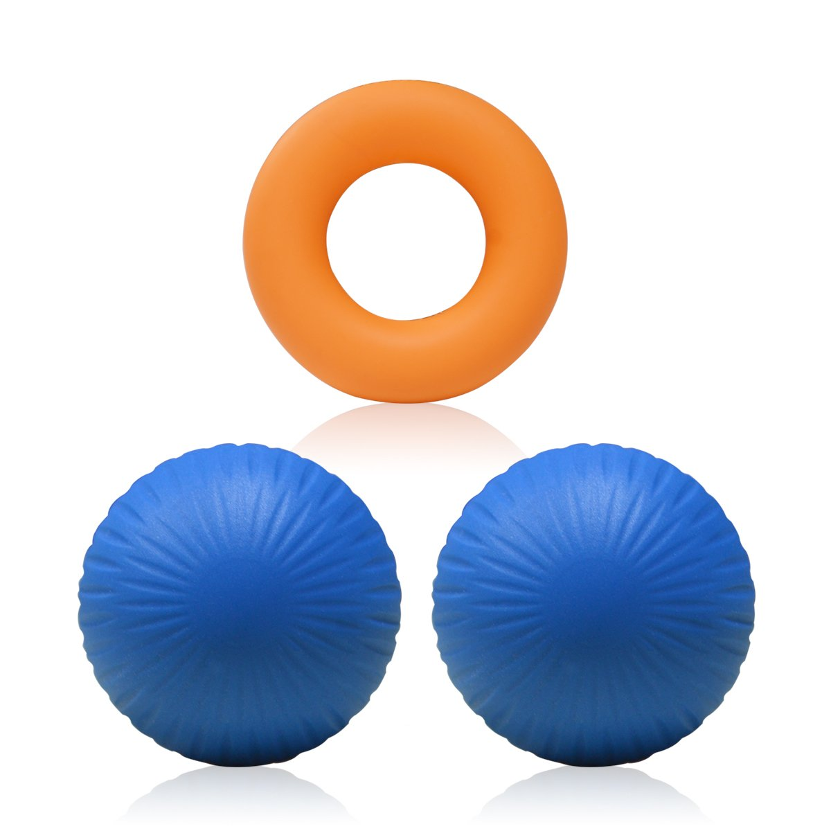 Your Choice Yoga Massage Balls Trigger Point Therapy balls Myofascial Release Lacrosse Ball, 2 Firm Balls & 1 Hand Strengthener Grip Ring Set for Foot, Back, Glute, Neck Massager