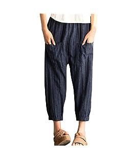 STRIR Pantalones Anchos para Mujer Verano 2018 Casual Pantalones de Vestir Fiesta con Bolsillo Estampado Rayas Algodón Lino Cintura Alta Elástica Palazzo Pantalones Suelto Señora (XL)