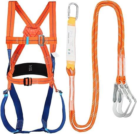 Kits de arnés de seguridad, arnés de seguridad anticaídas, Arnés de escalada ajustable para exteriores Cinturón de seguridad Cuerda de rescate Trabajo ...