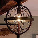 Luxury Art Nouveau Ceiling Light, Medium Size: 16''H x 12''W, with Walnut Stained Wood, Midnight Bronze Finish and Open Scrolling Vines Globe Shade, Includes Edison Bulb, UQL2193 by Urban Ambiance