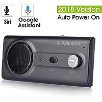 2018 Avantree NUEVO Kit Bluetooth Manos Libres de Parasol para Coche con Siri, Google Asistente de Comandos de Voz, Potente Altavoz 2W , Soporta GPS, Música, Llamadas
