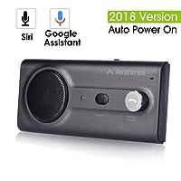 2018 Avantree NOUVEAU Kit Mains Libres Bluetooth Voiture avec Siri, Google Assistant Commande Vocale, Allumage automatique sans fil dans la voiture Enceinte main libre, Haut-parleur 2W puissant, Support GPS, Musique, Appels