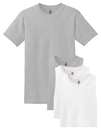 9930e997 Hanes Men's Comfortsoft T-Shirt, 2 Light Steel / 2 White, 3XL (Pack ...
