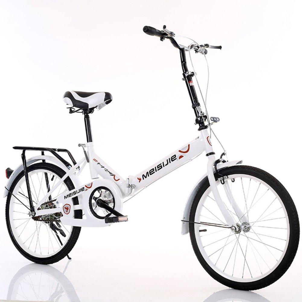 大人 折りたたみ自転車, 学生折りたたみ自転車 光ポータブル 子供たち 男子 レディース 折りたたみ自転車 B07DFF973H 20inch|白 白 20inch