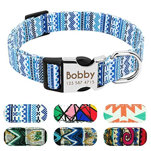 Didog Personalized Dog Collar,Safety Buckle Custom Engraved Dog Collar,Multicolor Fashion Pattern,for Small Medium Large Dog, Fresh Blue, Small Size