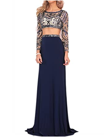 Miss Chics Womens Beaded Backless Long Sleeve Prom Dresses Cocktail Gowns (6,Navy)