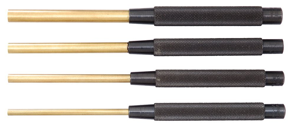 Starrett SB248Z Extended Length Brass Drive Pin Punch 4-Piece Set, 3/16''-3/8'' Pin Diameters, 8'' Overall Length, 3-1/2'' Pin Length, In Fabric Pouch