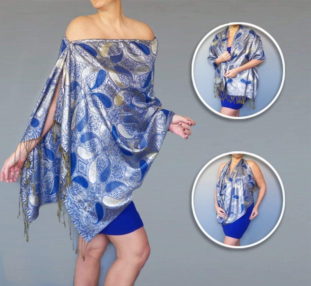 Amazon Com Metallic Silver Pashmina Shawl Blue Evening Wrap By