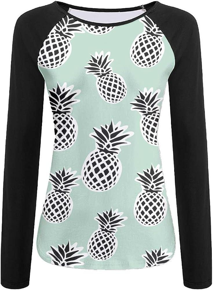 CUTEDWARF 3D Print Fresh Pineapple Beach Womens Long Sleeve Shirt Athletic Baseball Shirt