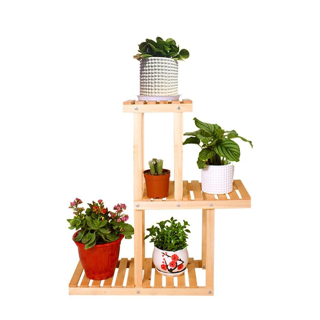 CSQ Solid Wood Plant Stand/Flower Stand, Pine Multi-Layer Multiple Styles, Balcony Garden Living Room, Transparent Wood Oil