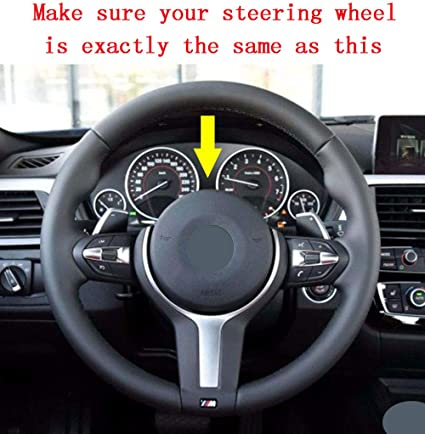 for 2015-2018 F85 X5 M F86 X6 M Interior Accessories with Red Tripe Eiseng DIY Sew Car Black Suede Steering Wheel Cover for BMW 3 Series F30 F10 M Sport//for 2014-2017 M3 M4 M5 M6