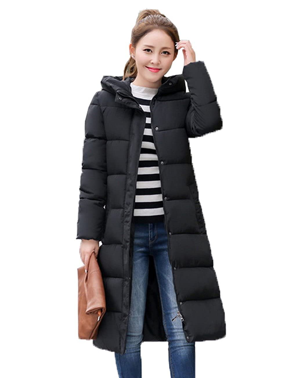 27aa4bf4a23 COMVIP Women Long Printing Hood Quilted Parkas Puffer Coat at Amazon Women s  Coats Shop