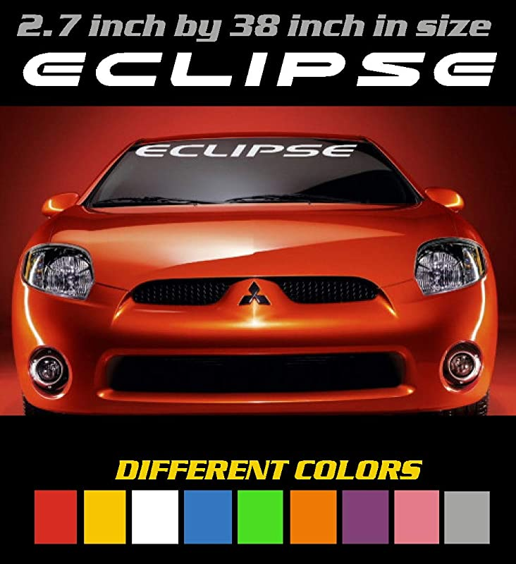 Emblem Different Colors Mitsubishi 3000GT Windshield Banner Decal Sticker 6 to 8 Year Outdoor Life Graphic 3.7 inch by 36 inch Window Decal.