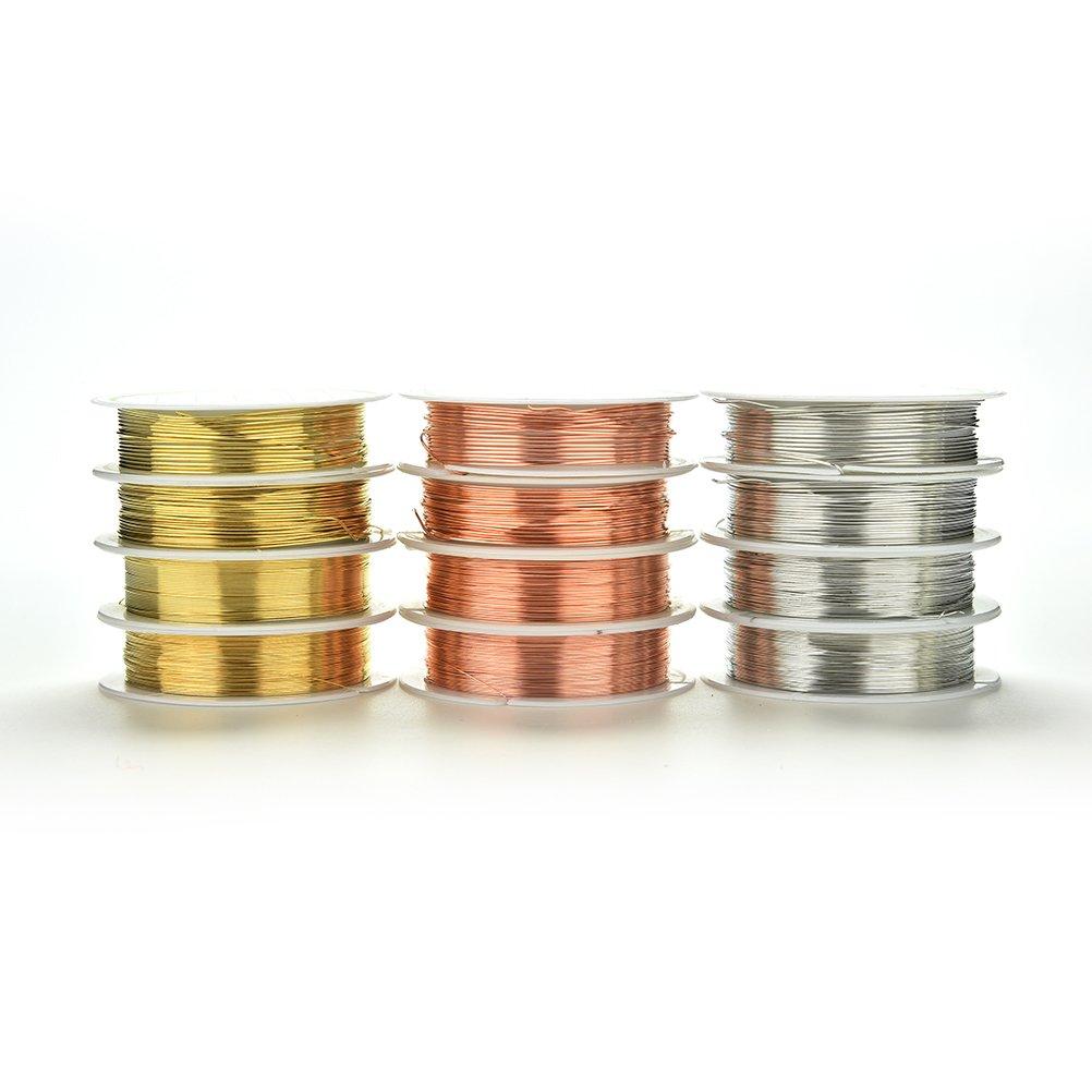 Kupferdraht f/ür Bastelarbeiten und Schmuckherstellung Durchmesser von 0,2 mm bis 1,0 mm 0.2MM x 25Meters gold-//silberfarben anlaufgesch/ützt 3 St/ück Perlendraht