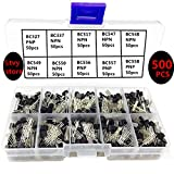 Ltvystore 10Values 500PCS BC327-BC558 NPN PNP Silicon Power Transistor TO-92 Box Assortment Assorted Kit Set with A Lable Mark Resistance