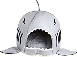 COCOPET Shark Bed for Small Cat Dog Cave Cozy Bed Removable Cushion,Waterproof Bottom