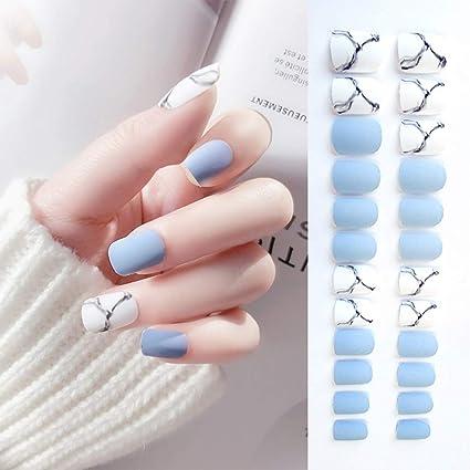 Sethexy Puntas de uñas de grano mate White & Bule Medium Diseño de ...