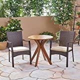 Great Deal Furniture Kohler Outdoor 3 Piece Acacia Wood and Wicker Bistro Set, Teak with Multi Brown Chairs