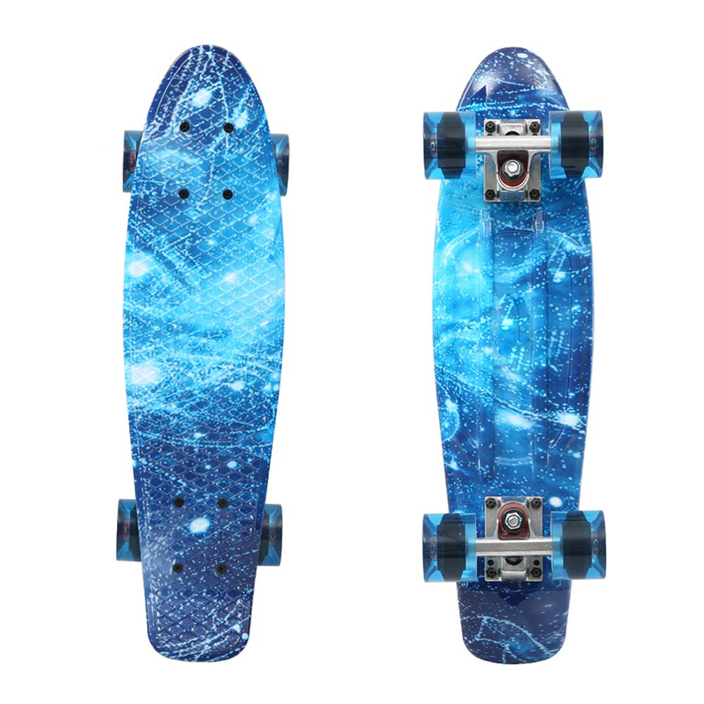 Playshion Complete 22 Inch Mini Cruiser Skateboard for Beginner with Sturdy Deck Blue Sky