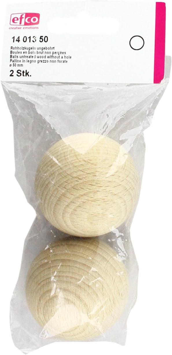 2 pezzi palline di legno non trattato con un foro 50/mm efco naturale personalizzabile