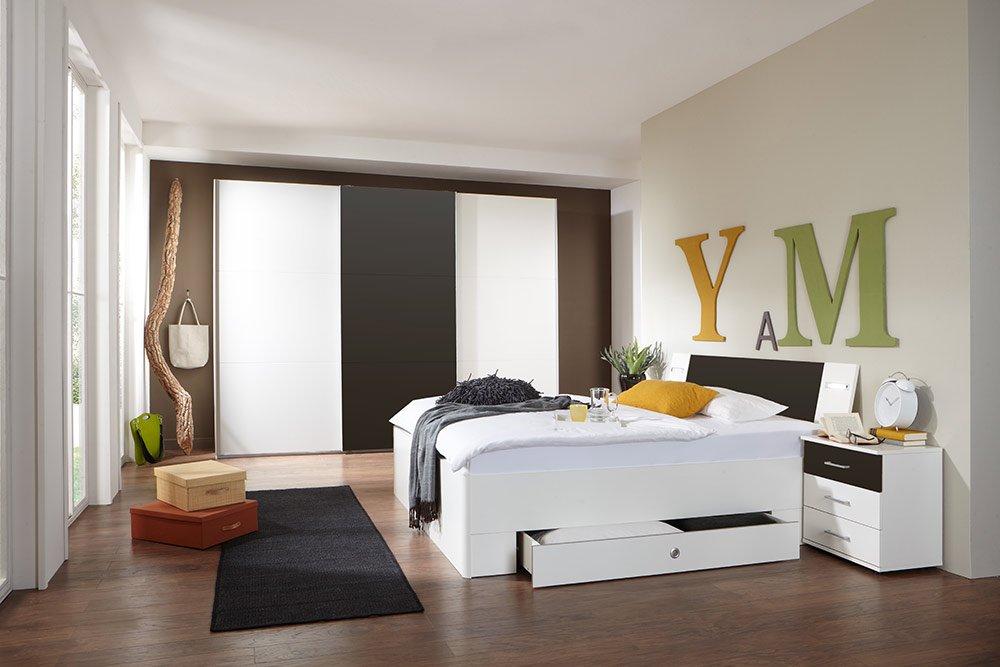 4-tlg-Schlafzimmer in Alpinweiß mit lavafarbigen Absetzungen, Schwebetürenschrank B: 313 cm, Bett mit Schubkästen B: 180 cm, 2 Nachtschränke B 104 cm