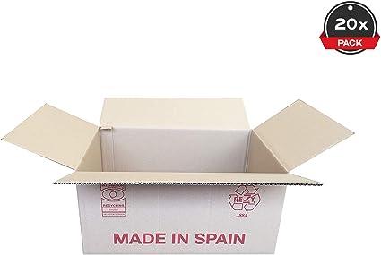 Cajeando | Pack de 20 Cajas de Cartón de Canal Simple | Tamaño 44,5 x 29,5 x 21 cm | Color Marrón | Mudanzas | Cajas Grandes de Almacenaje | Fabricadas en España ...