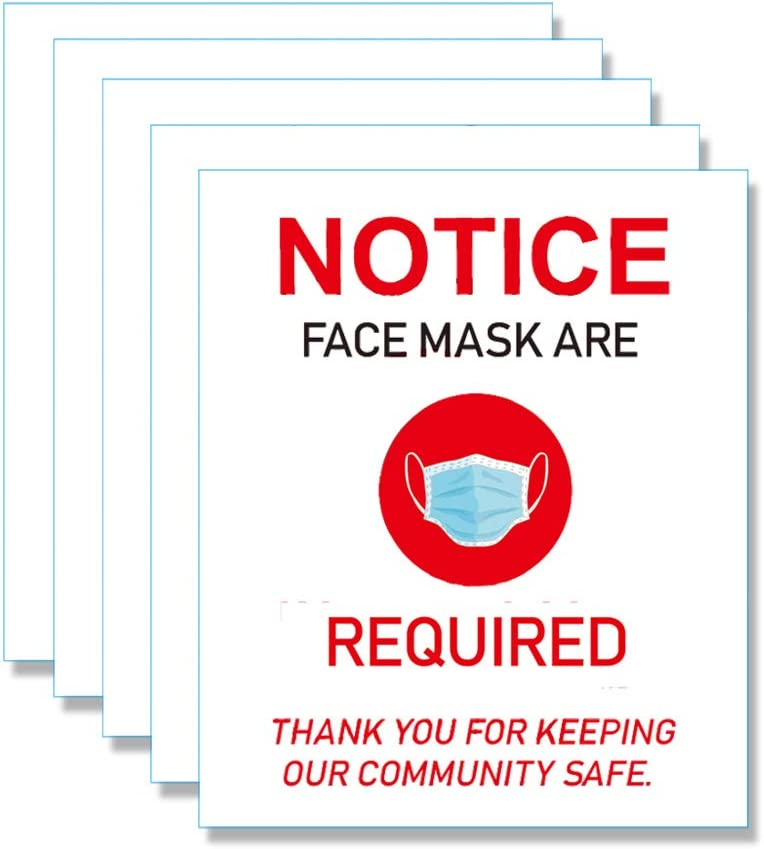 Face Mask Required Sign - Social Distance Poster Adhesive Removable Wall Stickers Helps Keep Your Business Safe(7