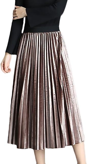 Faldas Mujer Primavera Otoño Medium Largos Falda Plisada Talla ...