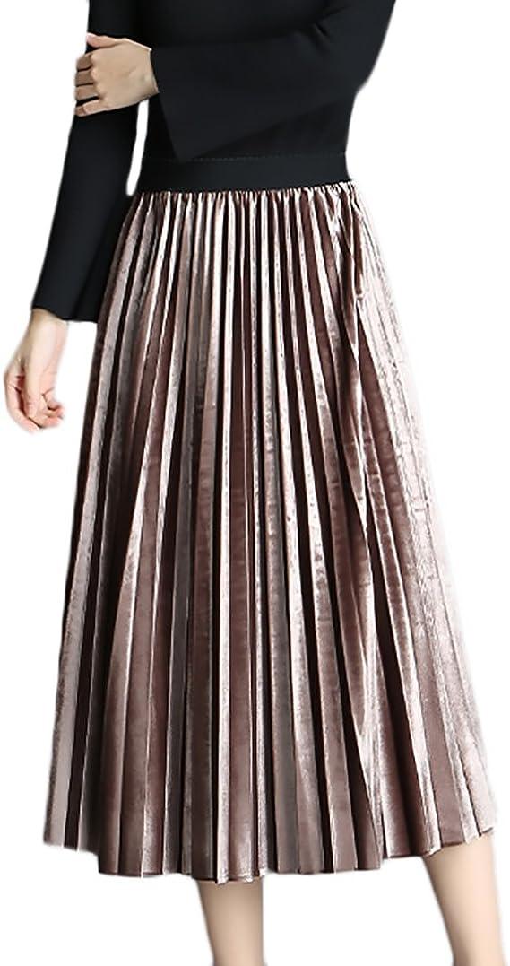 Falda Plisada Mujer Primavera Otoño Medium Largos Faldas Talla ...