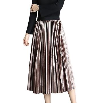 BOLAWOO Faldas Mujer Primavera Otoño Medium Largos Falda Plisada ...