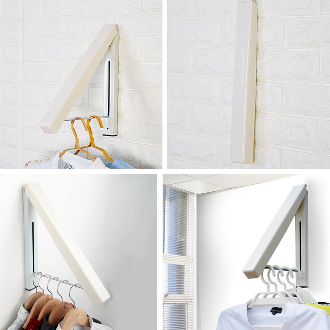 NEEGO Percheros De Pared Plegable Suspensión de Pared Percheros Plegable Colgador De Montaje Colgante de Ropa Plegable Ajustable Closet de Lavandería Para ...