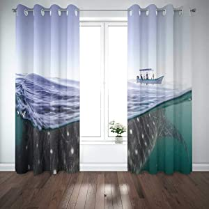 Capsceoll 52X 84 Inch 2 Panels Whale Shark The Biggest Fish in Ocean Huge Gentle Giant Swimming Near Surface California Mexico Window Curtain Panels for Home Kitchen Bedroom,Girls and Boys Curtains