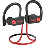 Elecder Bluetooth Headphones, Wireless Sports Earbuds Waterproof IPX7 with Microphone for Running Workout, Noise Cancelling Audifonos for Cellphone (Black&Red)