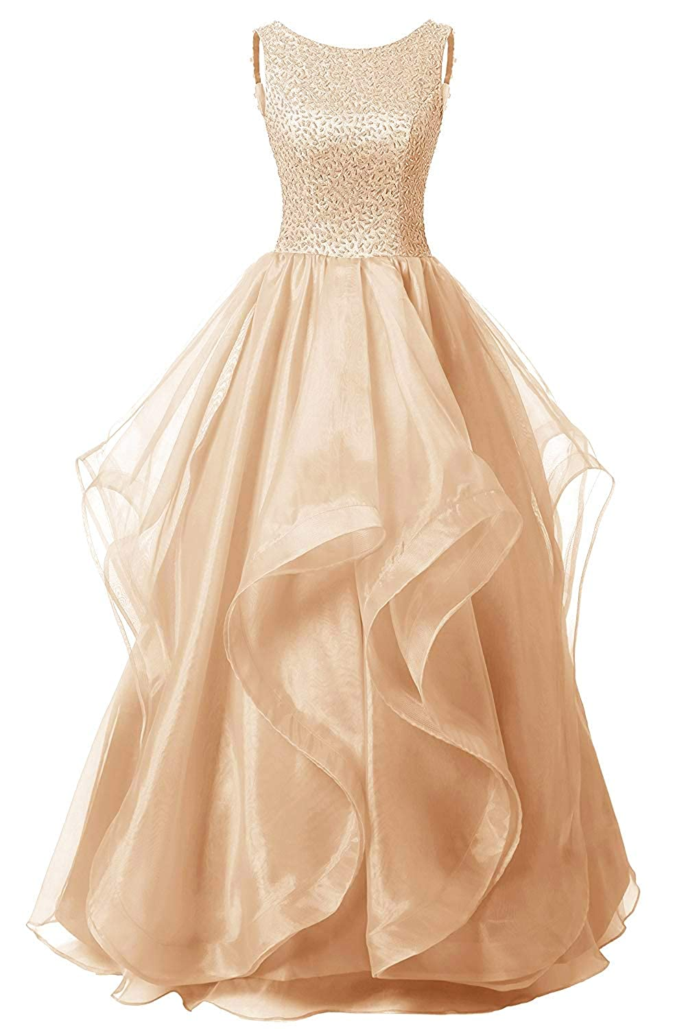Champagne Uther Long Formal Evening Prom Dress Organza Bridesmaid Dresses Beaded Gown