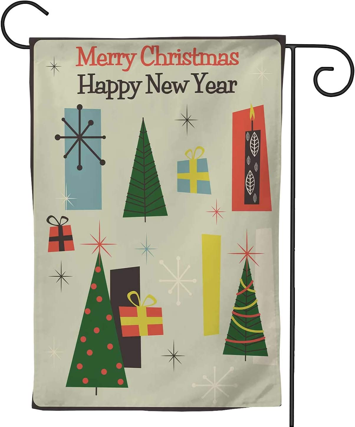 Hitecera Mid Century Modern Merry Christmas Greeting Card Style,Welcome Garden Flag Double Sided Outdoor Decoration 12.5''x18''