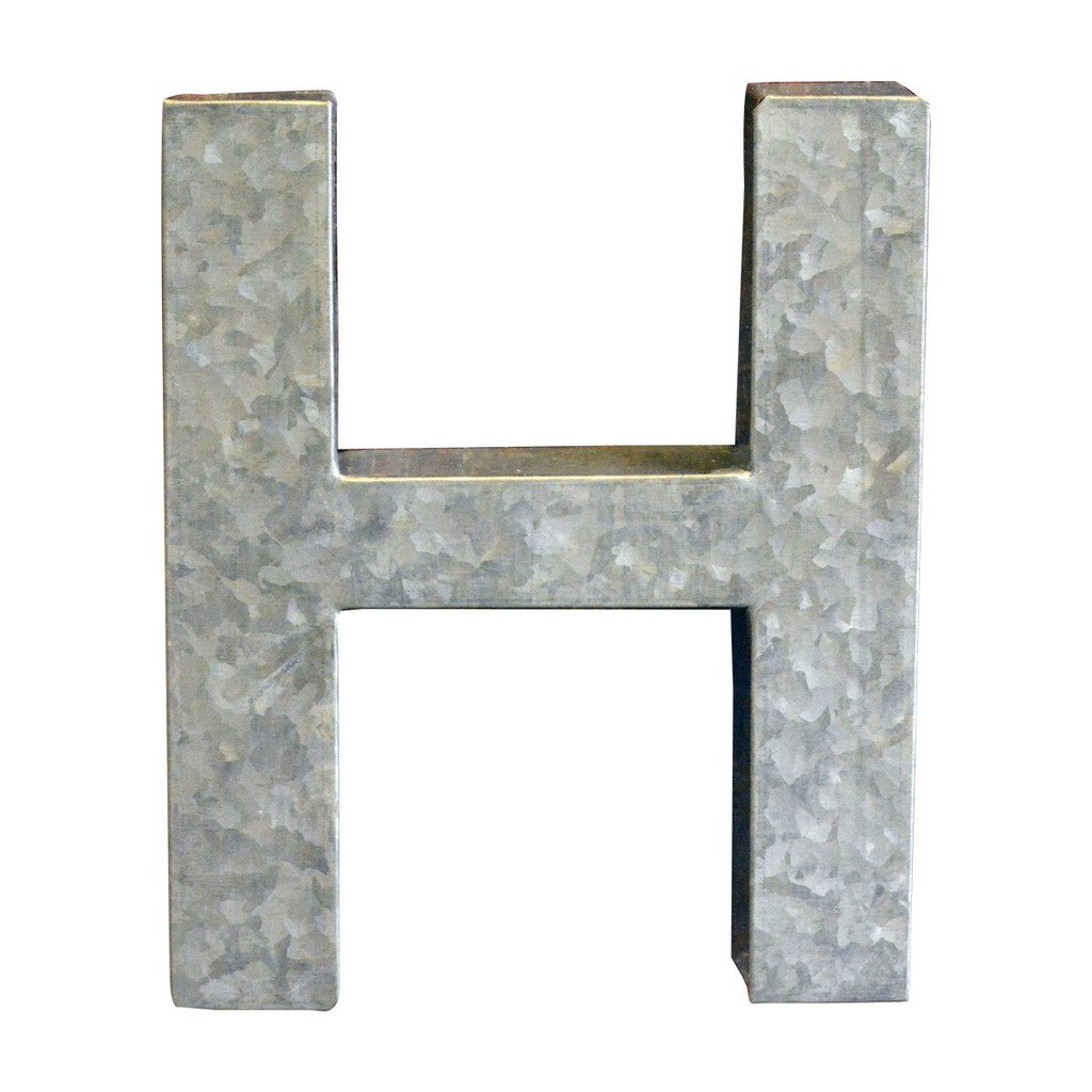 Modelli Creations Alphabet Letter H Wall Decor, Zinc