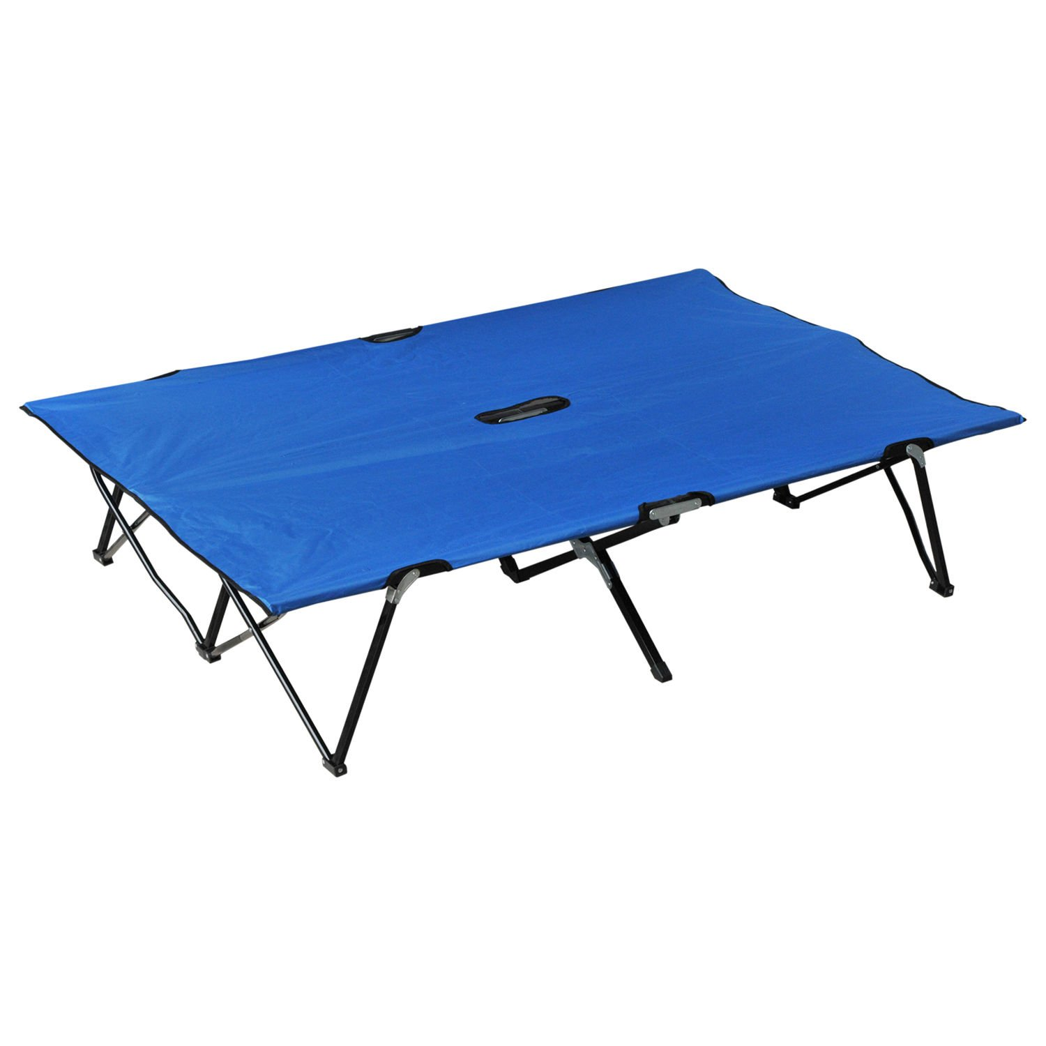 Outsunny 76'' Two Person Double Wide Folding Camping Cot - Blue by Outsunny