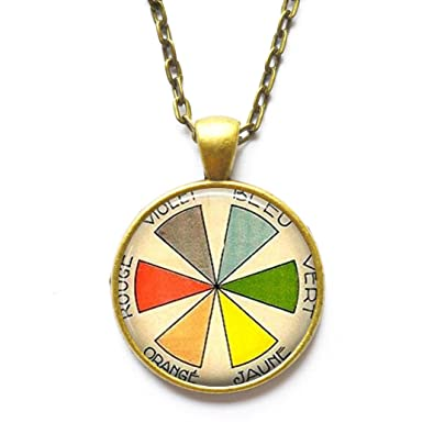 Amazon Com Color Wheel Necklace Artist Gift Vintage French Art